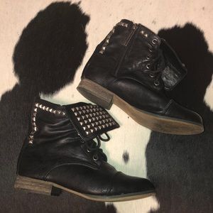 Vegan leather studded lace up combat boots, size 6